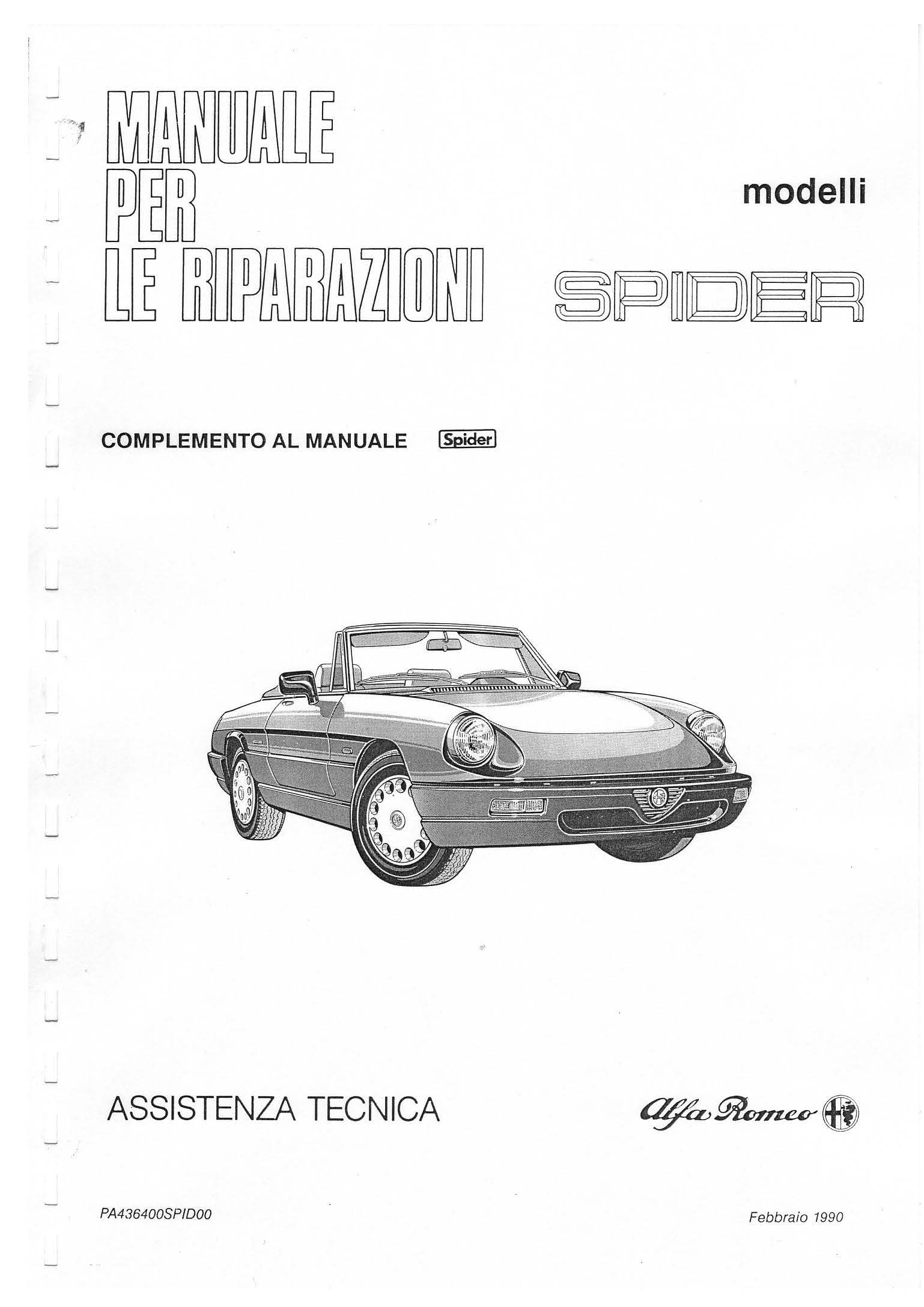 Catalogo Spider IV Serie Complemento 1990